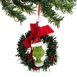 Grinch in Wreath Ornament
