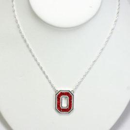 Ohio State Crystal Logo Necklace